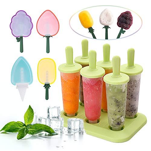 GLOBALDREAM Eisformen, 6 Stück Eisformen Eis Am Stiel und 4 Stück Obst Eis Am Stiel Formen Wassereis Formen Popsicle Molds BPA Frei Set für Kinder und Erwachsene