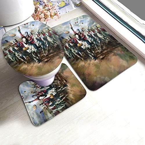 ingshihuainingxianruangangs Juego de alfombrillas de baño de 3 piezas de gran británica para hornear, almohadillas antideslizantes y alfombras de baño, juego de alfombras de baño