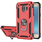 Compatible for Galaxy J2 Pro 2018(Not J2 Prime) Phone Case,Grand Prime Pro Case,Shockproof Defender Cover with Ring Kickstand Fit Magnetic Car Mount-Red