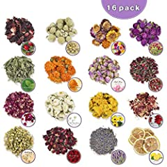 🌼 16 BEAUTIFUL VARIETIES - Our deluxe assorted dried flowers kit includes hibiscus, green luo flower, lemon, helichrysum bracteatum. purple gomphrena, rose petals, rose buds, lavender buds, calendula, chrysanthemum, chamomile, peppermint, red carnati...