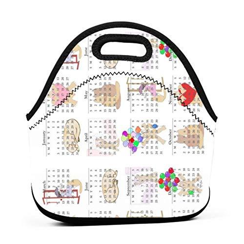 Blythe S - Bolsa de tela para almuerzo, diseño de gatito con calendario horizontal x de Blythe S