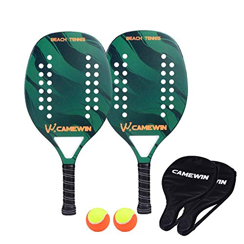 VAN Beach Tennis Racket Carbon Fiber Men Sport Tennis Paddle Set mit 2 Racquets 2 Taschen und 2 Kugeln Green