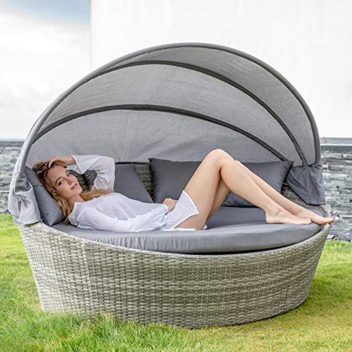 Home Islands Taipeh Sonneninsel Loungeinsel Polyrattan Daybed Loungebett Gartenmuschel rund mit Sonnendach - 6