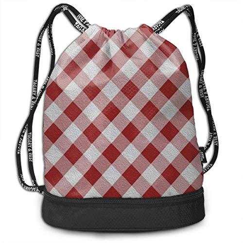 Ovilsm Cord Bag Sackpack Red and White Lattices Drawstring Bag Rucksack Shoulder Bags Travel Sport Gym Bag Print - Yoga Runner Daypack Shoe Bags with Zipper and Pockets