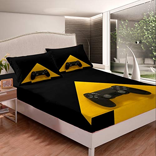 Games Bed Sheet Set for Kids Boys Teens Video Game Gamepad Fitted Sheet for Gamer Modern Game Controller Bedding Set Action Buttons Bed Cover Room Decor 2Pcs Sheets TwinXL