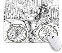 マウスパッド 個性的 おしゃれ 柔軟 かわいい ゴム製裏面 ゲーミングマウスパッド PC ノートパソコン オフィス用 デスクマット 滑り止め 耐久性が良い おもしろいパターン (自転車の多様なサイズの繰り返しのノスタルジックなバイクにハートとリーフのモチーフのヒップスターアートソフトピンクブルー)