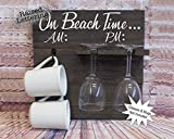 On Beach Time AM PM Mug & Wine Glass Wood Holder, 14x14 Inches, Glasses & Mugs NOT Included