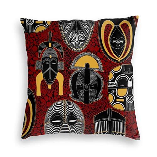 FONDSILVER Tiki Bar Máscara africana Nativa Ilustración Cozy Velvet Soft Throw Pillow Funda de almohada cuadrada decorativa fundas de cojín para coche, sofá, cama, decoración del hogar de Navidad, terciopelo, negro, 24'x24'