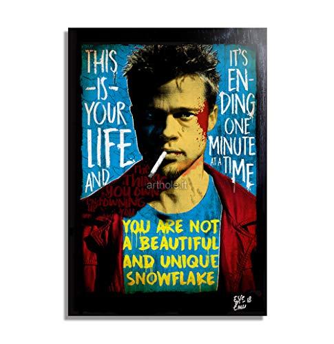 Tyler Durden (Brad Pitt) de la pelicula Fight Club (El Club de la Lucha) - Pintura Enmarcado Original, Imagen Pop-Art, Impresión Póster, Impresion en Lienzo, Cuadro, Cómics, Cartel de la Película