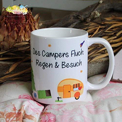 Kaffeebecher ~ Tasse - Des Campers Fluch: Regen & Besuch ~ Camper - Camping - Wohnwagen - Zelt ~ Weihnachten Geschenk