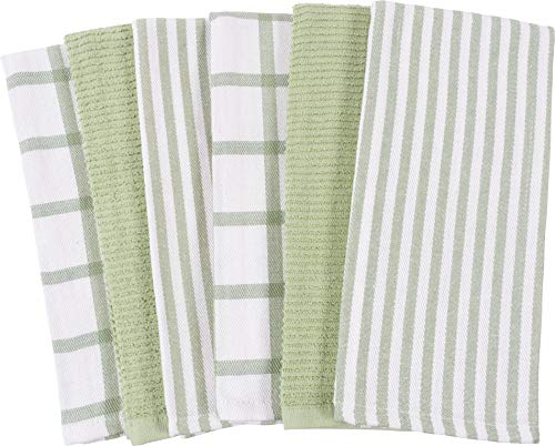 Mixed Flat & Terry Kitchen Towels   Two Sets of 3 18 x 28 Inches   4 Flat Weave Towels for Cooking and Drying Dishes and 2 Terry Towels, for House Cleaning and Tackling Messes and Spills (Sage)
