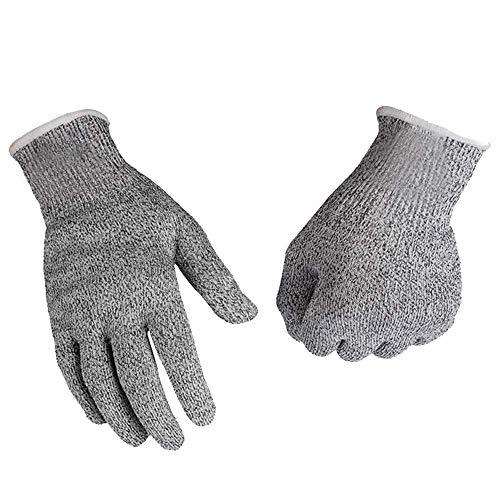 Schnittschutzhandschuhe,Arbeitshandschuhe,Küchen Handschuhe,Lebensmittelecht,Gestrickt Handschuhe für Gartenbau/Baustelle/Küche,Grau 1Paar(L)