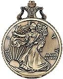 Cadena de reloj de bolsillo Exquisitos onzas de reloj American Eagle Pattern Pocket Watch for Hombres Conciso Blanco Dial blanco Relojes de bolsillo de cuarzo para mujeres Para hombres mujeres regalo