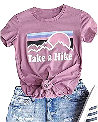 Xiaomomo Womens Take A Hike Printed Short Sleeves T-Shirt Casual Camping Hiking Graphic Tee Tops (Pink, S)