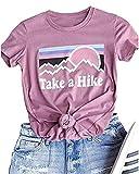 Xiaomomo Womens Take A Hike Printed Short Sleeves T-Shirt Casual Camping Hiking Graphic Tee Tops (Pink, XL)