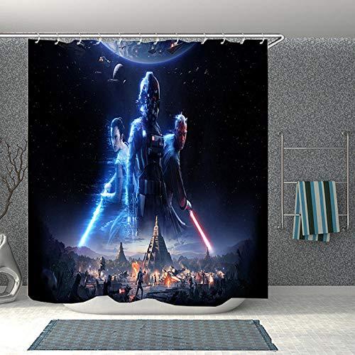 YUJEJ801 Aventuras de Star Wars Cortina de Ducha Impermeable Resistente al Moho, Cortinas Cortinas Baño de Tela 180X180cm Poliéster Impresión Digital en 3D con 12 Anillos Decoración de baño