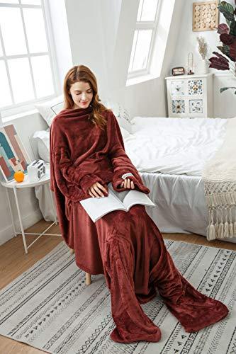 Winthome着る毛布 ブランケット 袖付き毛布 着るブランケット防寒 軽量 冬の寒さ 足先の冷えや節電対策に!男女兼用 着丈190cm (ブラウン)