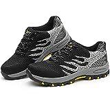 Zapatos De Deportes De Seguridad Transpirables para Hombre Zapatos De Trabajo De Punta De Acero Anti-aplastamiento De Zapatos Resistentes Al Desgaste(Size:42,Color:Gris)