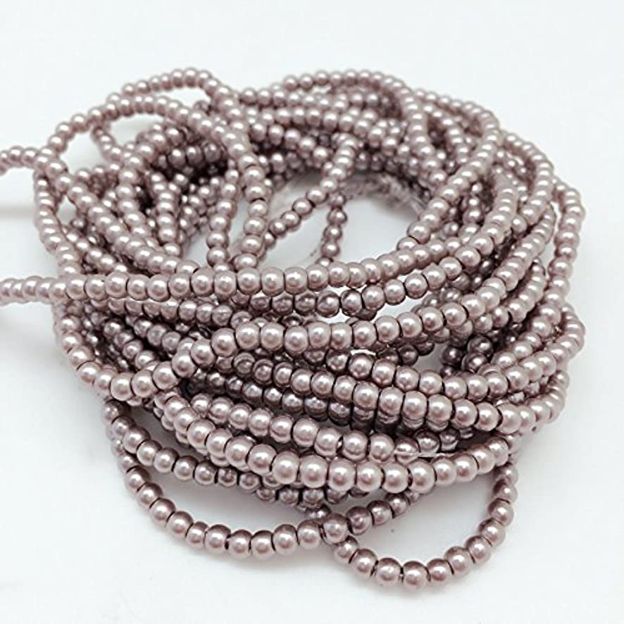 PEPPERLONELY Brand 5 Strands (About 54Grams 1150 PC) Rosy Brown Glass Pearl Round Beads, 3mm(1/8 Inch)