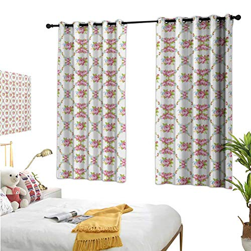 Mozenou Shabby Chic,Kitchen Curtain,Curvy Borders with Rose Blossoms Retro Feminine Flora Waves Garland Inspired Multicolor,Energy Efficient-Room Darkening55x63 Inch