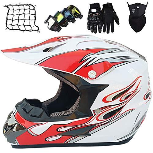 Casco de Moto, MJH-03 Conjunto de Casco de Motocross Niños & Adultos con Gafas/Máscara/Guantes/Red elástica (5 piezas) Casco Integral MTB MX Enduro Motocicleta - Certificación DOT/ECE, Blanco Rojo