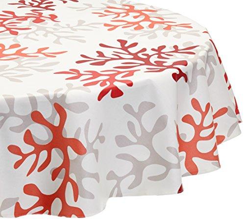 Nappe Ovale anti-tache imperméable 160x200cm Corail Rouge par Fleur de Soleil - coton enduit - sans solvant - sans phtalate - 100% fabrication française