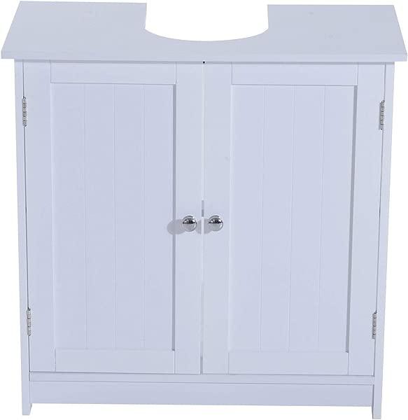 Under Sink Bathroom Storage Cabinet 3 Shelves Vanity Unit Wooden White