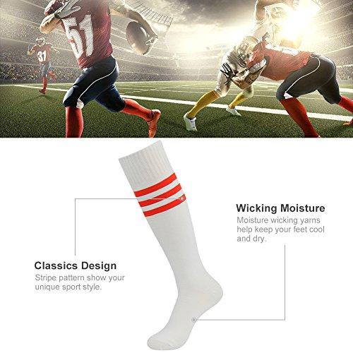 3street Unisex Triple Stripe Knee-High Over Calf Athletic Soccer Tube Socks 2-12 Pairs