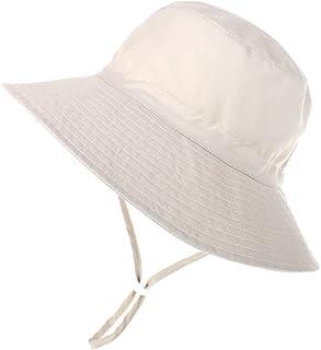 MeekEra Chapeau de Soleil Seau B/éb/é Gar/çon fille avec mentonni/ère Bonnet Anti-UV L/éger S/échage Rapide Bob souple /à Bord Large Protection le Cou pour Plage /ét/é 1-3ans