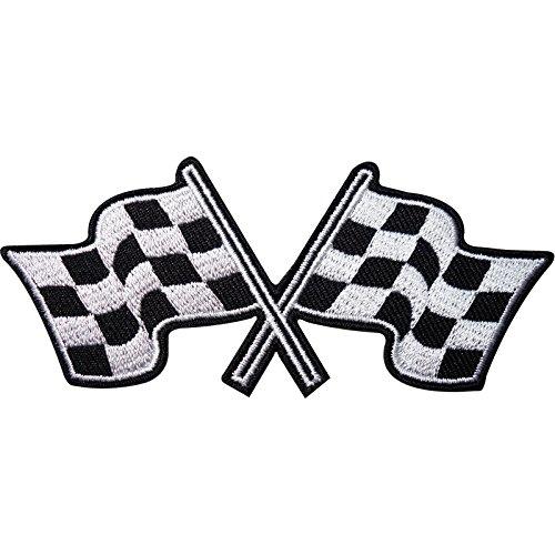 Bestickter Aufnäher mit karierter Flagge, zum Aufnähen oder Aufbügeln, F1 Rennauto, Hemdabzeichen