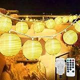 40 LED Lampions Lichterkette Außen Strom, Erweiterbar 8 modi 10M Warmweiß Lichterkette Lampion mit Fernbedienung &Stecker, Laterne Beleuchtung Outdoor für Weihnachten Thanksgiving Balkon Garten Deko