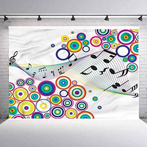 10x10FT Vinyl Photography Backdrop,Music,Rainbow Music Notes Artwork Background for Selfie Birthday Party Pictures Photo Booth Shoot