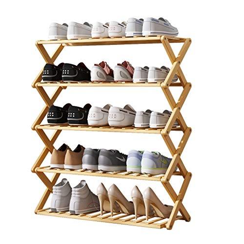 WINON Zapatero 5 Niveles Plegable Zapato de bambú Estante Libre instalación Simple hogar Zapato económico Zapato Lavadora Puerta de Almacenamiento de la Puerta Zapateros (tamaño : 50 * 25 * 88cm)