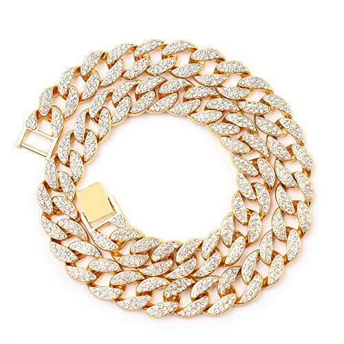Cuban Link Necklace for Men - Hip Hop Necklace Stainless Steel Necklace Iced Out with Bling Rhinestones, Fashion Accessory for Hip Hop Lovers (Gold, 20)