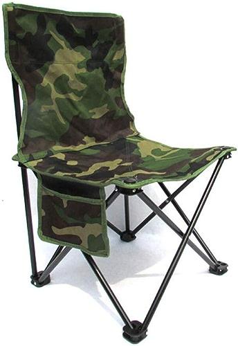 DPPAN Fauteuil Pliable Portatives Chaise de Camping Chaise d'Extérieur, Confortable Compact Charge Max de 120 kg avec Poche pour Randonnée,Camouflage_petit