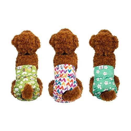 CuteBone 犬用マナーベルト おむつカバー犬用 調整可能 ミス 生理 蜂 星 ハート柄 お漏らし対策 3枚セット 中小型犬用 D29XS-JP
