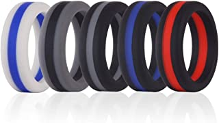 Simpleonly Silicone Wedding Bands with Blue Red Black Gunmetal Thin Line for Men
