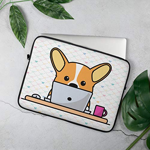 Protect Laptop from Bumps and Scratches -Cute Corgi- Laptop Sleeve Case Graphic Design Easy to Carrying Size 15'