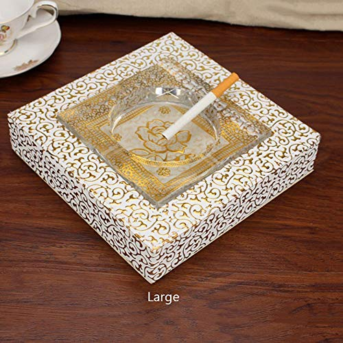 Square Crystal Glass Ashtray Holder with Leather Wood Base Ash Storage Creative Cigarette Tray Cigarette Cigar Accessories, European Light Luxury Ashtrays with Rose Gold Flower Cushion (Size : L)