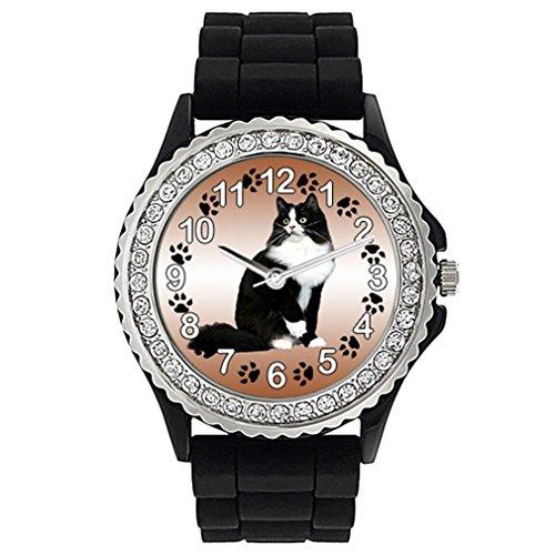 Timest - Gato Ragamuffin Reloj de Silicona Negro para Mujer con piedrecillas Analógico Cuarzo SG1965