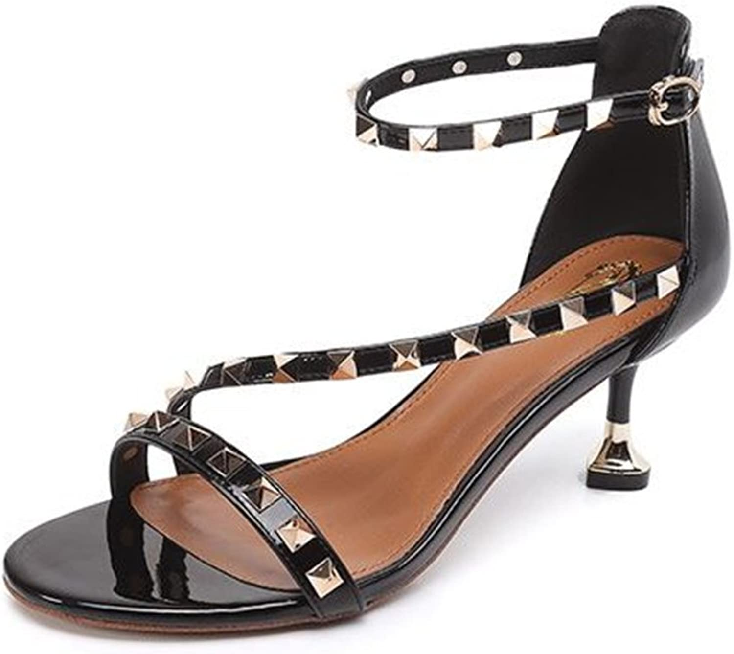 CHENSF Sexy Girl Thin High Heel Sandals Rivet Studded Ankle Cuff Cross-Strap shoes Dress Pumps