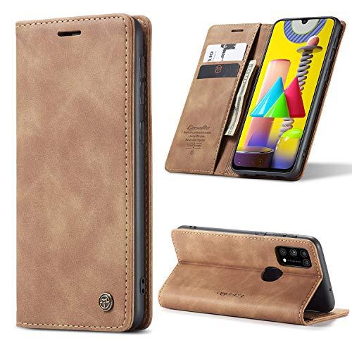 yanzi Hülle Samsung Galaxy M31 Handyhülle Flip Hülle Schutzhülle Samsung Galaxy M31 Premium Leder Tasche Braun Wallet Lederhülle Bumper Silikon Samsung M31 Hülle