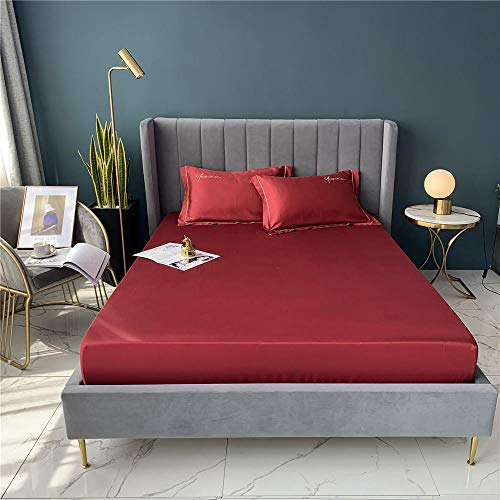 Zzyx Satin Silk Flat Bed Sheet Set Single Queen Size King Size Bedspread Cover Linen Sheets Double Full Double Sexy (Color : Red, Size : 150x200x30cm)