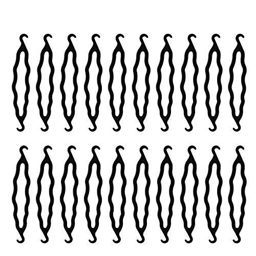 Yangfei 20 Stück Haar Dutt Maker, Haarknotenmacher Bun Maker Schwarz Kunststoff Haarklammern Haarknoten Maker Frisurenhilfe DIY Haar Styling Werkzeug Haarknoten Spange zum Stylen für Frauen Mädchen