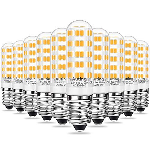 AUTING 6W E14 Bombillas LED, Bombilla E14 2700k Blanco cálido, Equivalente a Halógeno 60W, Ángulo de haz de 360 °,500LM, No Regulable, Bombillas E14, Pack de 10 Unidades