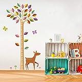 SLQUIETColor de dibujos animados hoja árbol altura medida etiqueta de la pared jardín de infantes dormitorio decoración de la pared registro de crecimiento etiqueta de la pared 160 cm X 90 cm