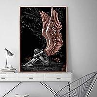 スカンジナビアの天使と悪魔のキャンバスの絵画灰色の女の子の翼のポスターとプリントリビングルームの装飾のための壁の芸術の写真60X80cm24x32インチフレームなし