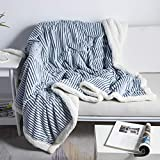 DISSA Sherpa Fleece Blanket Reversible Sherpa Flannel Blanket Soft Fuzzy Plush Fluffy Blanket Warm Cozy with Strip Perfect Throw for All Seasons for Couch Bed Sofa Chair (Blue, 51'x63')