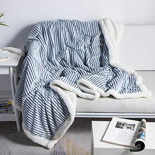 """DISSA Sherpa Fleece Blanket Throw Blanket Soft Blanket Plush Fluffy Blanket Warm Cozy with Blue and White Strip Perfect Throw for All Seasons for Couch Bed Sofa (Blue, 51"""" x63'')"""