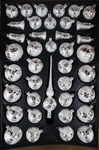 Lauscha 40er Christbaumschmuck, Weihnachtsbaumkugel Set, Eislack weiß, Silber Lorbeerblatt+Spitze, Handarbeit